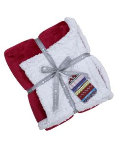Lux Sherpa Fleece Throw Red