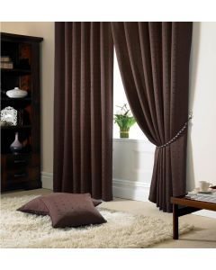 Madison Chocolate Pencil Pleat Curtains Fully Lined
