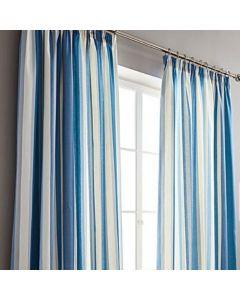 Hampton Stripe Blue Pencil Pleat Fully Lined Curtains