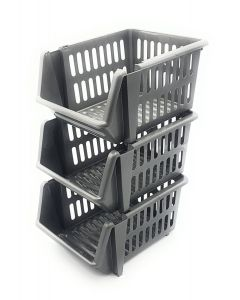 Three Tier Silver Stackable Baskets