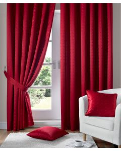 Madison Red Pencil Pleat Curtains Fully Lined