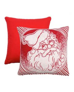 "Christmas Santa Chenille Red Cotton Cushion Cover 17"" - 43cm"