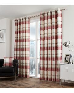 Balmoral Check Ruby Eyelet Fully Lined Curtains
