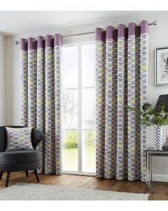 Copeland Heather Geometric Print Eyelet Fully Lined Curtains