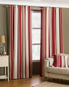 Broadway Raspberry Vertical Stripe Eyelet Lined Curtains