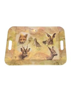 Large Tray Wild Animals Hare Deer Fox Stag Grouse Collage