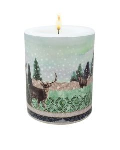 Christmas Stag Reindeer Winter Scene Candle Large