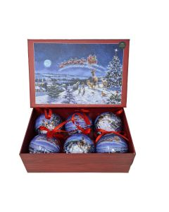 Boxed Macneil Father Christmas 6pc Baubles Set