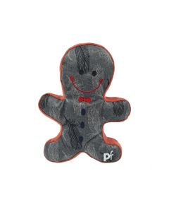 Christmas Gingerbread Grey Red Feathers Squeaky Dog Toy