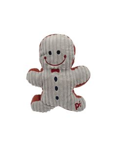 Christmas Gingerbread Grey Red Corduroy Squeaky Dog Toy