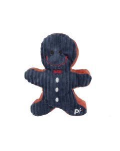 Christmas Gingerbread Navy Blue Red Corduroy Squeaky Dog Toy