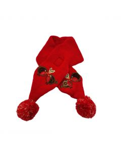 """Christmas Dog Embroidered Robins Red Velcro Scarf 24"""""""