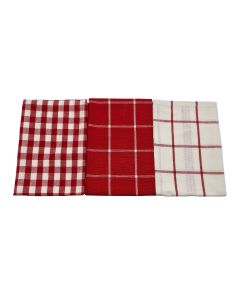 Kensington Checked Tea Towels Red 3 Pack 100% Cotton
