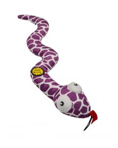 Large Soft Dog Toy Purple Snake Bell Rattler Squeaky Squeaker