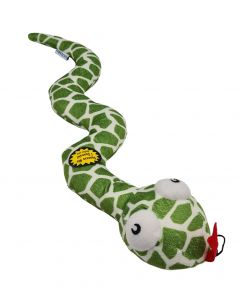 Large Soft Dog Toy Green Snake Bell Rattler Squeaky Squeaker