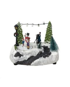 Battery Powered Musical L.E.D. Christmas Scene with Rotating Snowman
