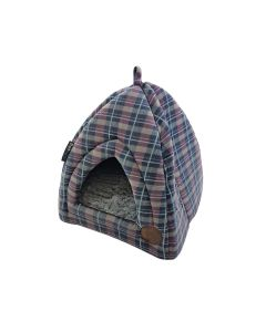 Grey Check Igloo Cat or Kitten Bed Tent