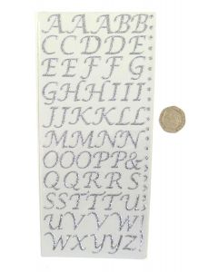 Pack of 55 Silver Stylised Letters Craft Stickers