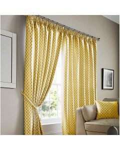 Cotswold Ochre Gold Honeycomb Lined Pencil Pleat Curtains - 9 Sizes