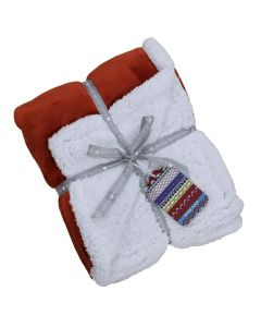 Lux Sherpa Fleece Throw Orange