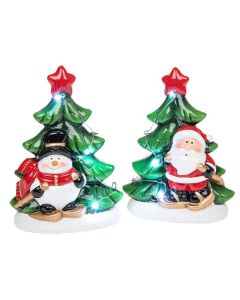 Christmas Medium LED light up Tree Santa and Snowman Set