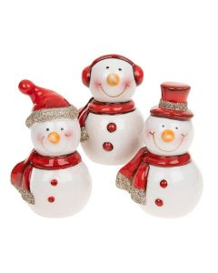 Boxed Cheery Snowmen Christmas Porcelain Decorations