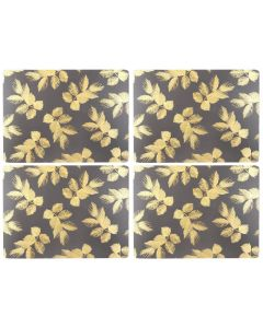 Sara Miller Etched Leaves Dark Grey Set of 4 Large Placemats