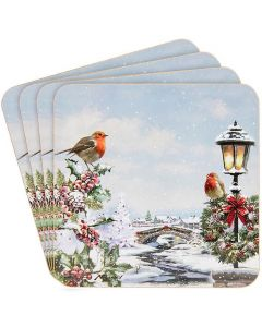 Christmas Robins Coasters set of 4