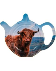 2 x Highland Cow Acrylic Blue Red Teabag Holder Present Gift