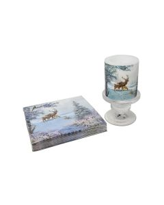 Christmas Frozen Deer Family Paper Napkins Candle & Small Candelstick