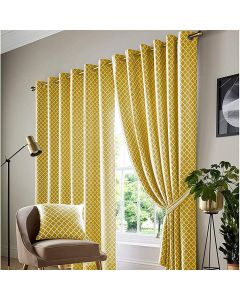 Cotswold Ochre Gold Honeycomb Lined Ring Top Curtains - 9 Sizes