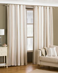 Broadway Coffee Vertical Stripe Eyelet Lined Curtains