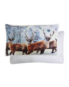 Christmas Stag Reindeer Boudoir Reversible Cushion 30 x 50cm