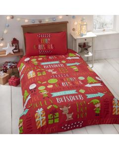 Christmas Fun Reindeer Elves Single Duvet