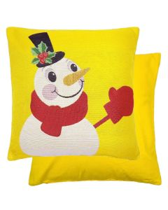 """Christmas Frosty Yellow Woven Chenille Cushion 17"""""""
