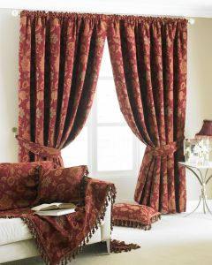 Zurich Jacquard Burgundy Pencil Pleat Fully Lined Curtains