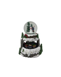 Battery ONLY Powered L.E.D. Snowglobe Christmas Scene with Rotating Train