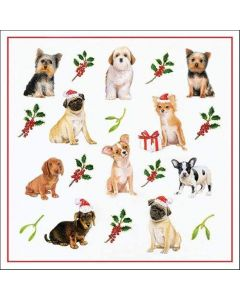 Christmas Dogs Pack of 20 Paper Napkins