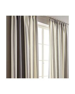 Hampton Stripe Grey Pencil Pleat Fully Lined Curtains