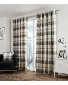 Balmoral Check Slate Eyelet Fully Lined Curtains