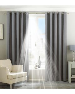 Eclipse Blackout Silver Eyelet Fully Lined Curtains