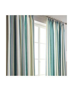Hampton Stripe Green Pencil Pleat Fully Lined Curtains
