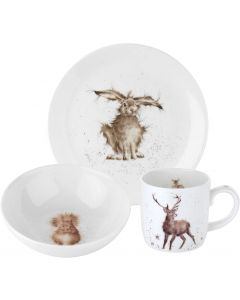 Wrendale Boxed 3pce Set (side plate, bowl and mug) Hare Squirrel Stag