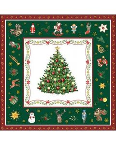 20 Christmas Tree Evergreen Green Paper Napkins Serviettes 3 Ply Paper