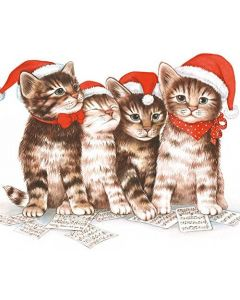 20 Christmas Singing Cats Hats Napkins Serviettes 3 Ply Paper