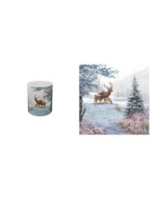 Christmas Deer Family Pack of 20 Paper Napkins & Candle