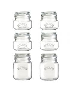 Kilner 6 Square Glass Push Top Jar Set