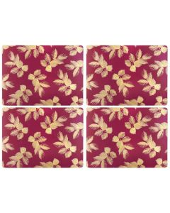 Sara Miller Etched Leaves Dark Pink Set of 4 Large Placemats