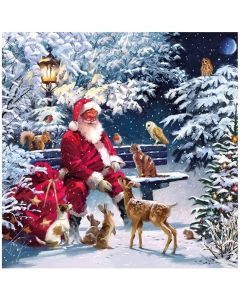 Christmas Santa on Bench Pack of 20 Paper Napkins