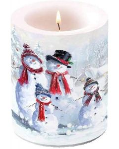 Christmas Snowman Family with Hat Scarves Candle Large